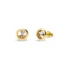 Aros Tiny Bonbon Studs Gold Golden Shadow - Swarovski joyas