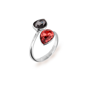 Anillo Pear Drop Jet y Red Magma