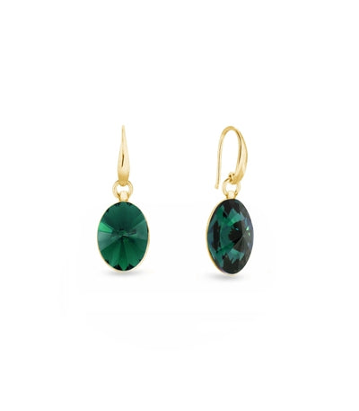 Aros Oval Gold Emerald - Spark Silver Jewelry