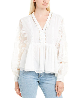 Open image in slideshow, White Floral Embroidered Top