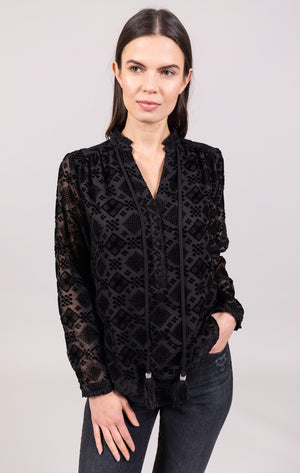 Open image in slideshow, Burnout Velvet Blouse