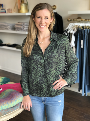 Open image in slideshow, Dixie Blouse | Army Leopard