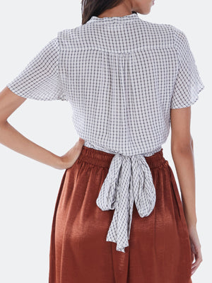 Checked Wrap Top