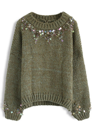 Open image in slideshow, Green Sequin Sweater