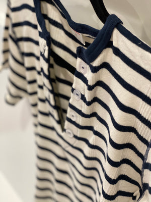 Short Sleeve Henley | Navy Stripe