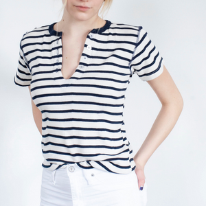 Open image in slideshow, Short Sleeve Henley | Navy Stripe