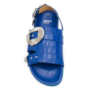 Open image in slideshow, Toga Pulla | Blue Croc Embossed Sandal