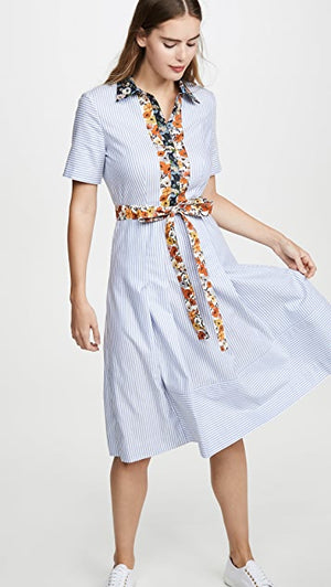 Tory Burch | Blossom Ditsy Cotton Patchwork Shirt Dress