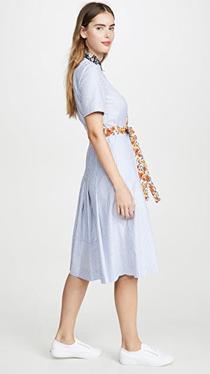 Open image in slideshow, Tory Burch | Blossom Ditsy Cotton Patchwork Shirt Dress