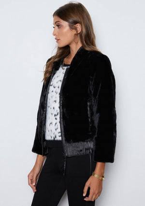 Open image in slideshow, Meryl Faux Fur Coat |  Black