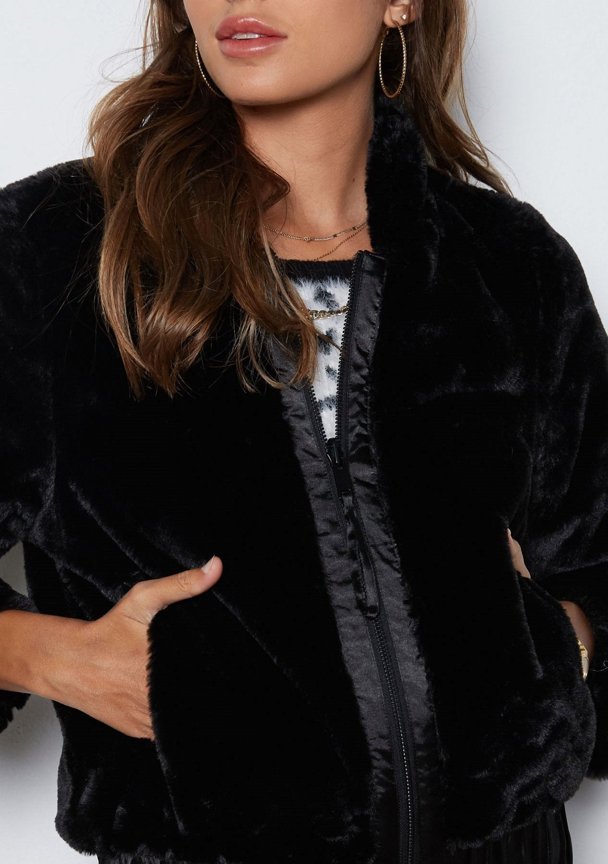 Meryl Faux Fur Coat |  Black