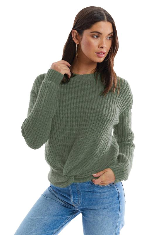 Twist Front Sage Sweater