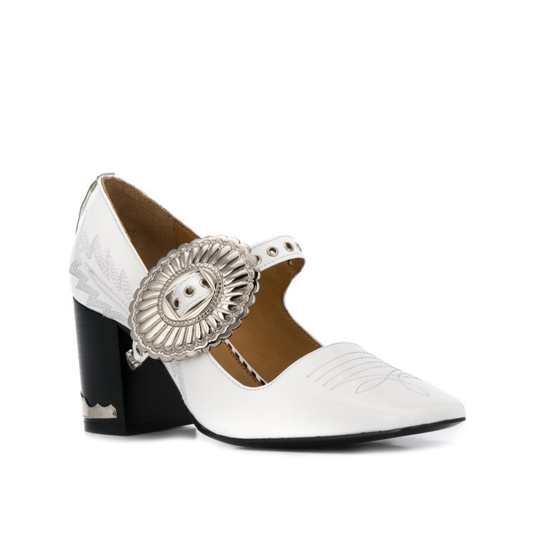 Toga Pulla | Buckled Mary-Jane White Pump
