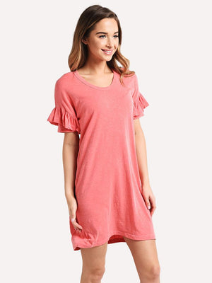 Open image in slideshow, Sundry short sleeve ruffle dress