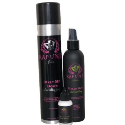 Melt me down & Mello Out spray Trio for Waterproof Hold w lace wig Adhesive - Kafuné hair (Growing Upscale Hair LLC)