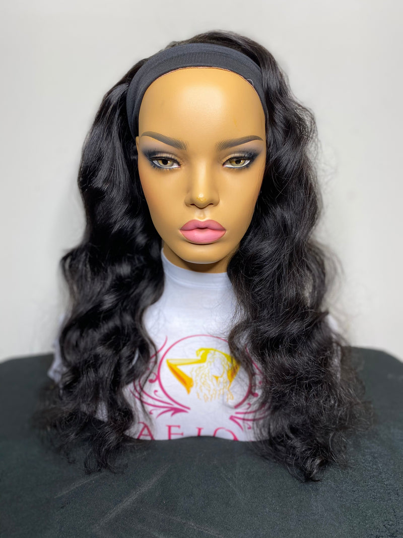 "18"" Deep wave  headband Wig medium Cap Size- Next Day Shipping - Kafuné hair (Growing Upscale Hair LLC)"