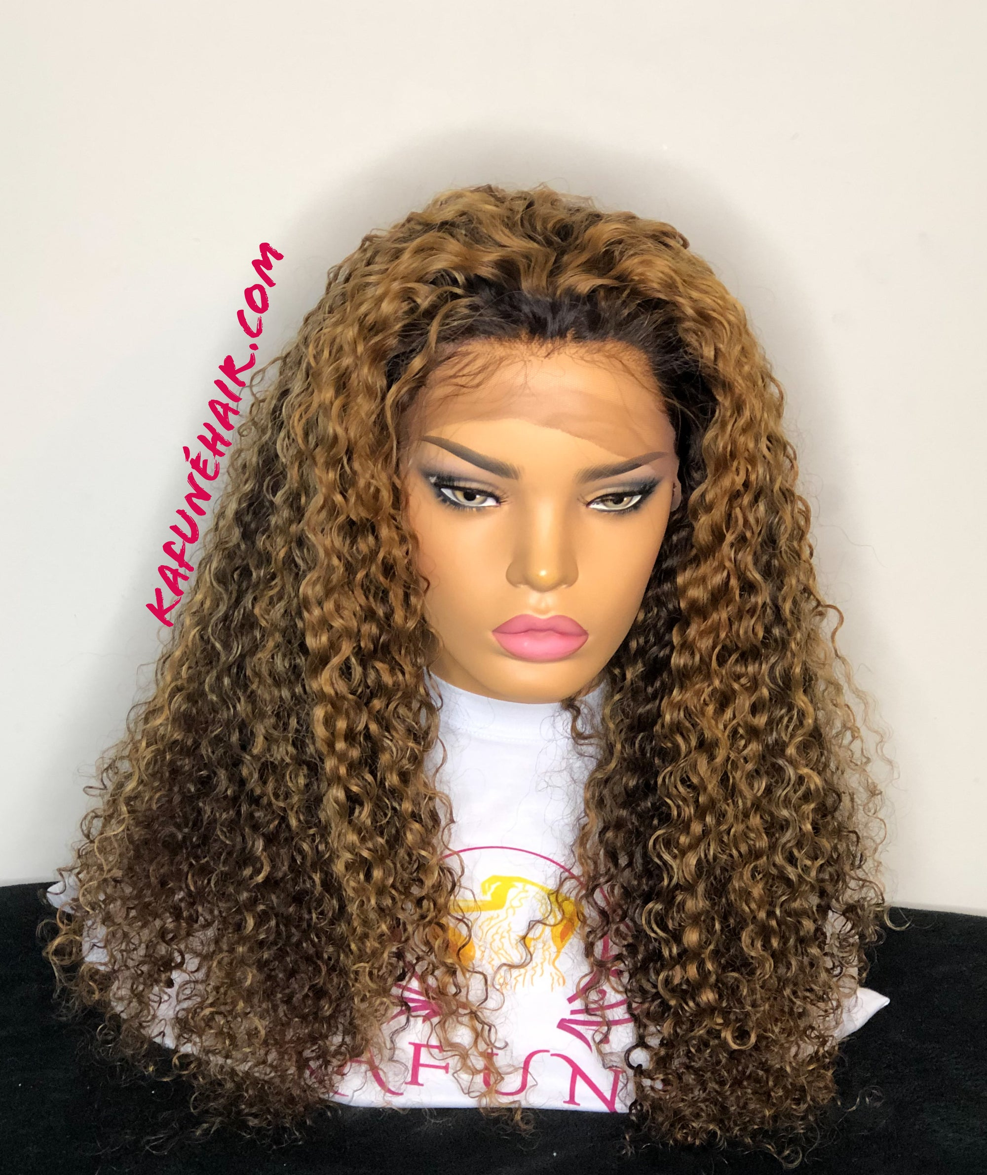 "Custom Color 22"" heavy density brown with high lights Deep Curly Lace Front Wig - Kafuné hair (Growing Upscale Hair LLC)"