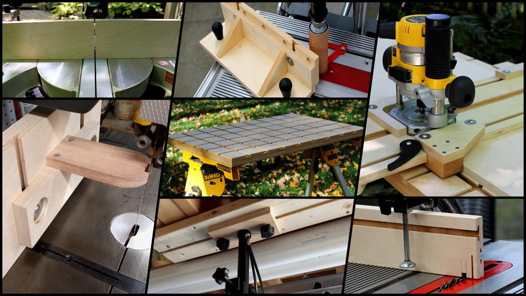 A photo collage of jigs and fixtures built with the WoodAnchor fixturing system