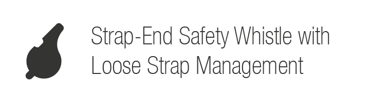 Strap-End Safety Whistle with Loose Strap Management