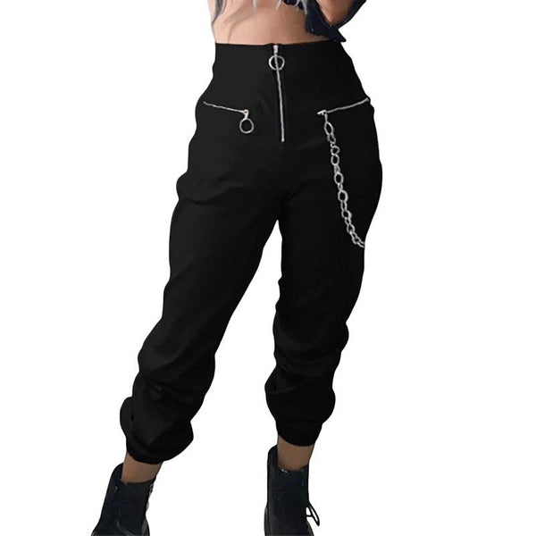 casual harem pants with chain solid black pant - For Her Fitness
