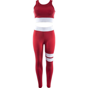 Women's Red Or Black Coordinated White Strip Workout Set For The Gym - For Her Fitness