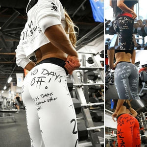 Women's Stylish No Days Off Letter Print Leggings For Working Out - For Her Fitness