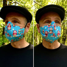 Load image into Gallery viewer, Baboushka Panda - Reversible PPE Made-to-order Couture Face Mask available In Standard Fit w/ Filter Pocket,  4 layer Sleeker Profile, and Children's w/ Filter Pocket (shown in our REG. FIT, Med. size)