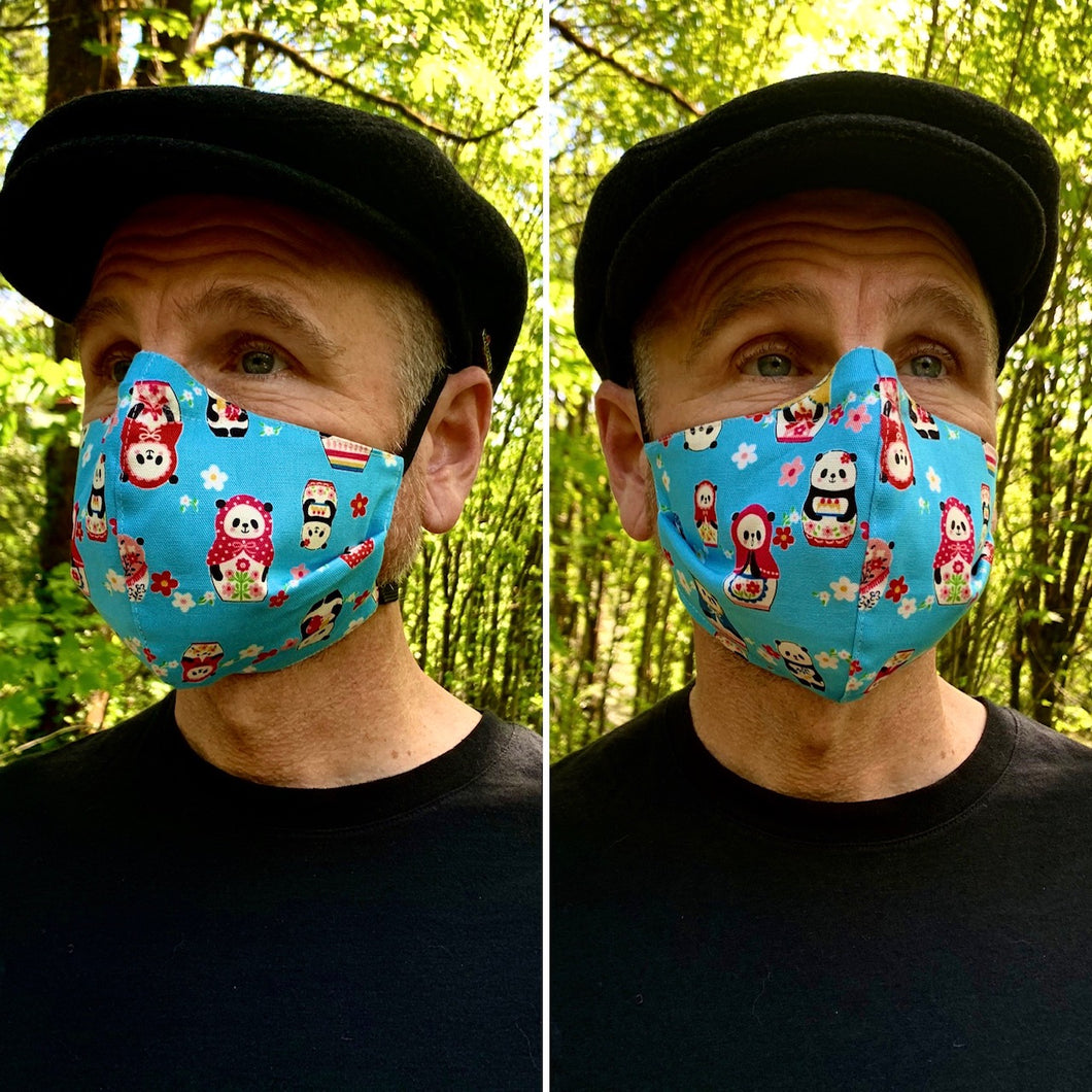 Baboushka Panda - Reversible PPE Made-to-order Couture Face Mask available In Standard Fit w/ Filter Pocket,  4 layer Sleeker Profile, and Children's w/ Filter Pocket (shown in our REG. FIT, Med. size)