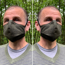 Load image into Gallery viewer, Dark Olive / Light Olive Texture - Reversible PPE Made-to-order Couture Face Mask available In Standard Fit w/ Filter Pocket, 4 layer Sleeker Profile, and Children's w/ Filter Pocket(shown in our REG. FIT, Med. size)