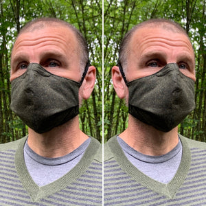 Dark Olive / Light Olive Texture - Reversible PPE Made-to-order Couture Face Mask available In Standard Fit w/ Filter Pocket, 4 layer Sleeker Profile, and Children's w/ Filter Pocket(shown in our REG. FIT, Med. size)