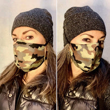 Load image into Gallery viewer, Green Brown Camo / Light Olive Texture Print - Reversible PPE Made-to-order Couture Face Mask available In Standard Fit w/ Filter Pocket,  4 layer Sleeker Profile, and Children's w/ Filter Pocket(shown in our REG. FIT, Med. size)