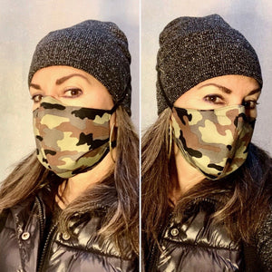 Green Brown Camo / Light Olive Texture Print - Reversible PPE Made-to-order Couture Face Mask available In Standard Fit w/ Filter Pocket,  4 layer Sleeker Profile, and Children's w/ Filter Pocket(shown in our REG. FIT, Med. size)