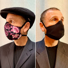Load image into Gallery viewer, Pink Floral/Tonal Black Floral - Reversible PPE Made-to-order Couture Face Mask available In Standard Fit w/ Filter Pocket,  4 layer Sleeker Profile, and Children's w/ Filter Pocket(shown in our REG. FIT, Med. size)  - Out of Stock
