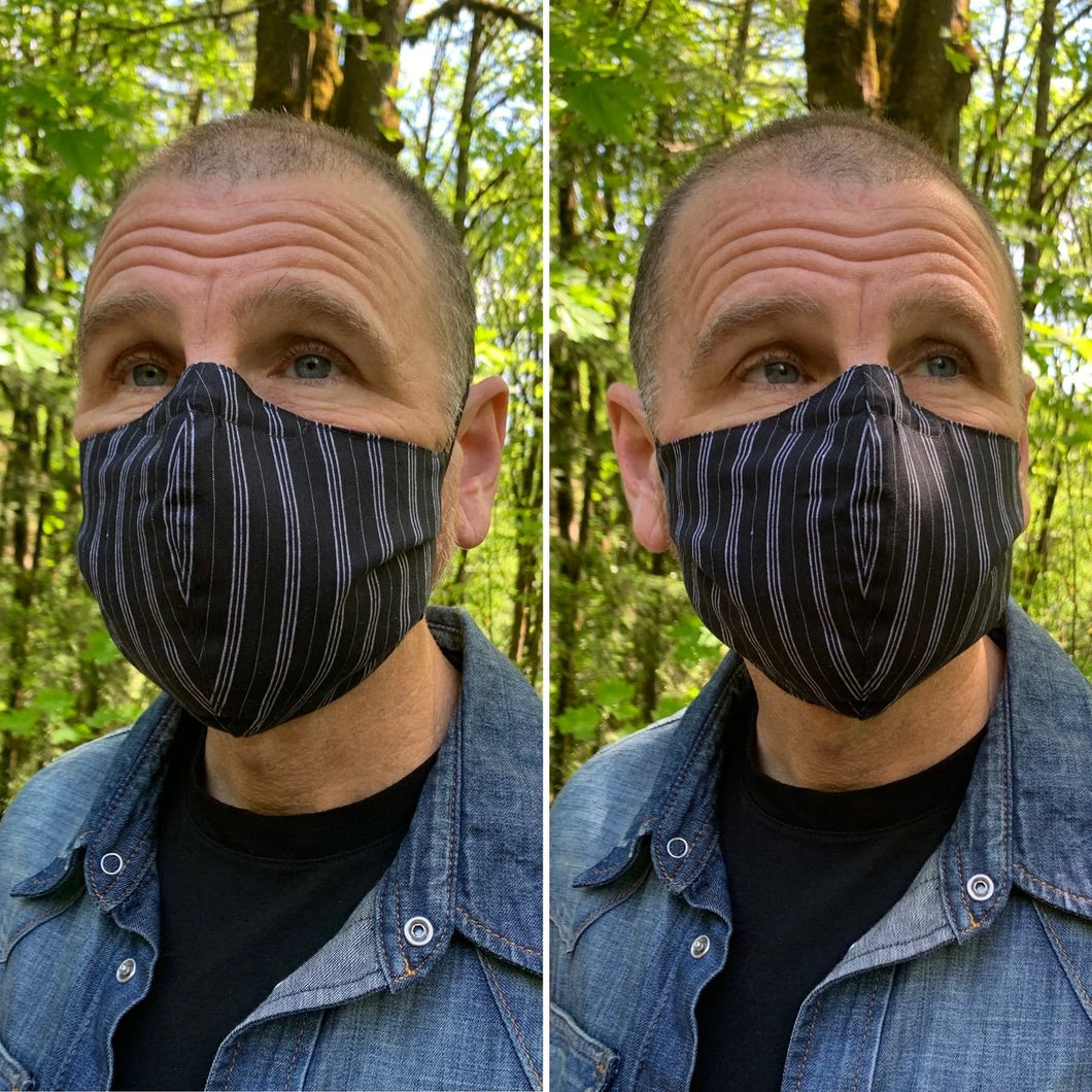 Suiting Stripe - Reversible PPE Made-to-order Couture Face Mask available In Standard Fit w/ Filter Pocket,  4 layer Sleeker Profile, and Children's w/ Filter Pocket(shown in our REG. FIT, Med. size)