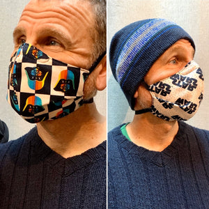 May the Force be with you - Reversible PPE Made-to-order Couture Face Mask available In Standard Fit w/ Filter Pocket,  4 layer Sleeker Profile, and Children's w/ Filter Pocket (shown in our REG. FIT, Med. size)