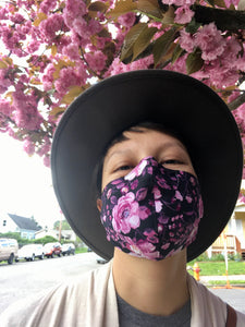 Pink Floral/Tonal Black Floral - Reversible PPE Made-to-order Couture Face Mask available In Standard Fit w/ Filter Pocket,  4 layer Sleeker Profile, and Children's w/ Filter Pocket(shown in our REG. FIT, Med. size)  - Out of Stock