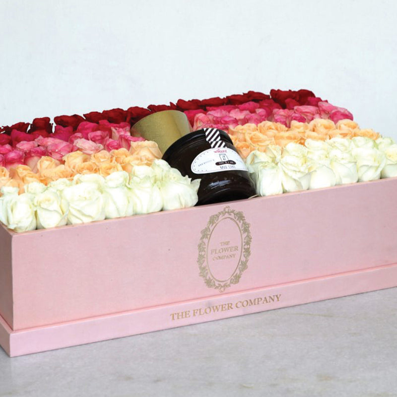 Ombre Roses with Cake Jar & Candle - Large Grande