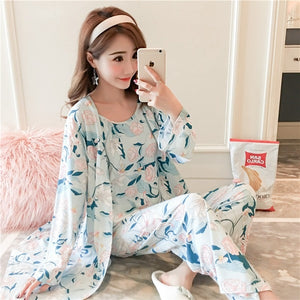 3PCS Sexy Cotton Pajama Sets for Women 2019 Spring Long Sleeve Robes Femme Print Sleepwear Homewear Pijama Mujer Three Piece Set