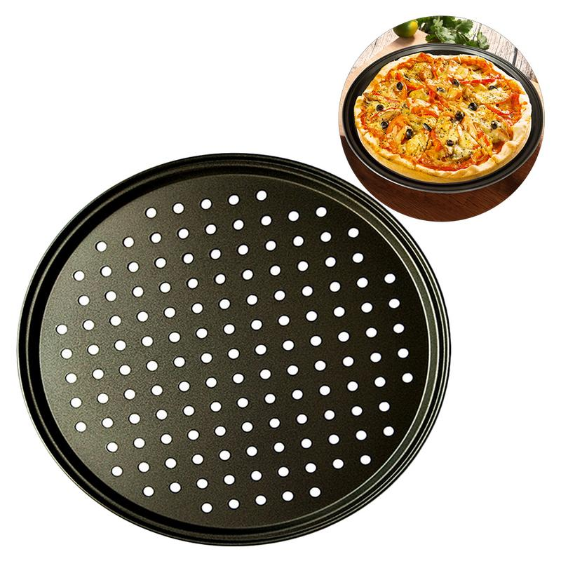 2pcs Carbon Steel Nonstick Pizza Baking Pan Tray 32cm Pizza Plate Dishes Holder Bakeware Home Kitchen Baking Tools Accessories