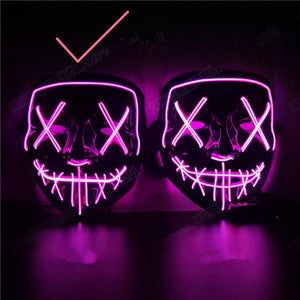 Halloween Decoration LED Mask Light Up Party Neon Mask Cosplay Horror V for Vendetta Halloween Party Decor Props Accessories