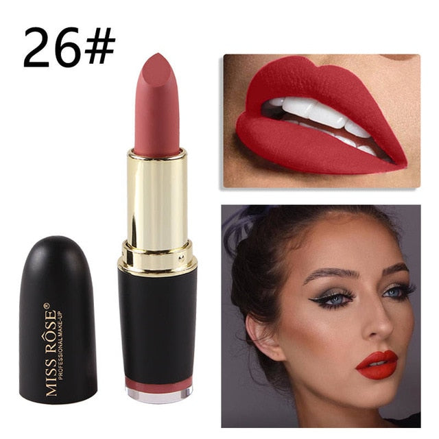 New MISS ROSE Lipstick Matte Waterproof Velvet Lip Stick 18 Colors Sexy Red Brown Pigments Makeup Matte Lipsticks Beauty Lips