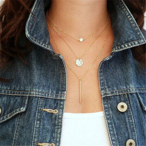 Boho Shell Pendant Necklace for Women Long Chain Round Coin Multilayer Choker 2019 Collares Necklace Wedding Jewelry