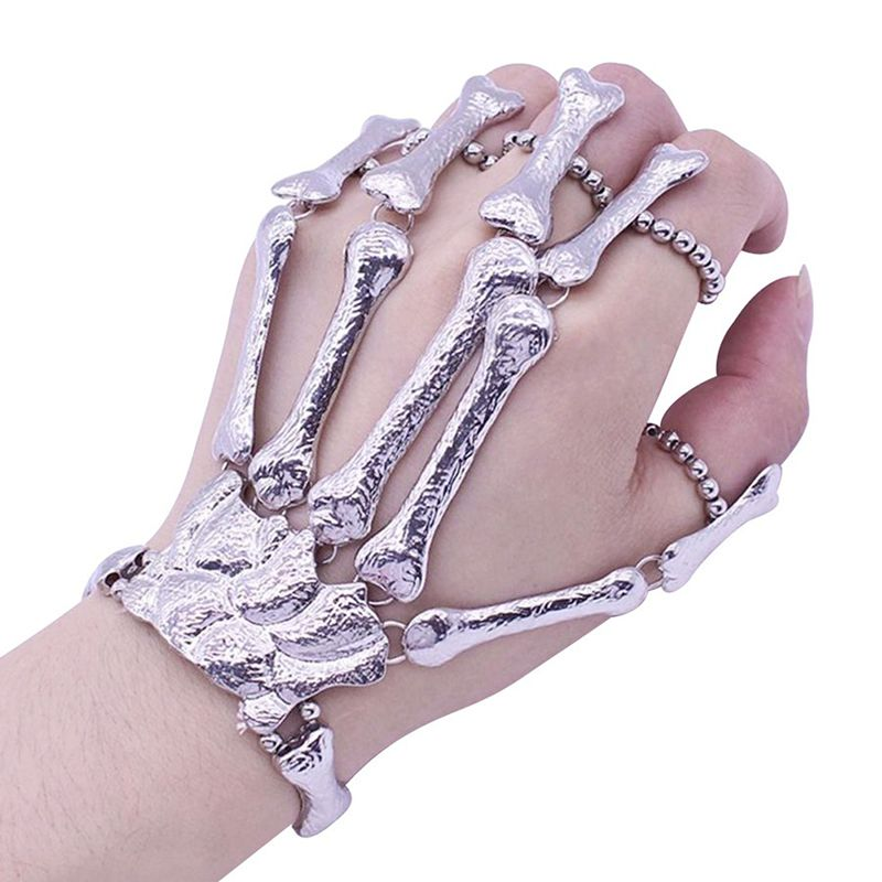Halloween Props Gift Fun Nightclub Party Punk Finger Bracelet Gothic Skull Skeleton Bone Hand Finger Bracelet Party Decoration