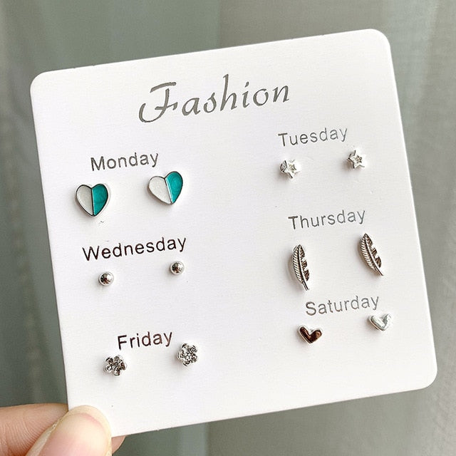 Women Heart Star Mini Earrings Set Fashion Girl Small Jewelry Square Leaf Pearl 6-pairs Stud Earring Sets Lady Mini Jewelry Gift