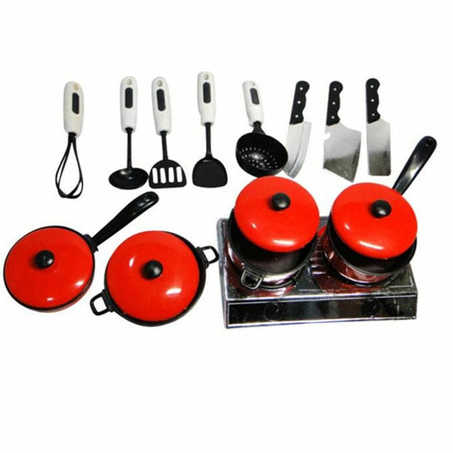 13PCS Kid Play House Toy Kitchen Utensils Cooking Pots Pans Food Dishes Cookware Full Set Pan Household Kitchen Utensil
