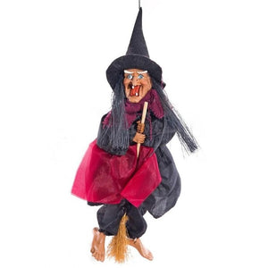 Hanging Horror Riding Broom Witch Figurine Halloween Decoration Ornaments