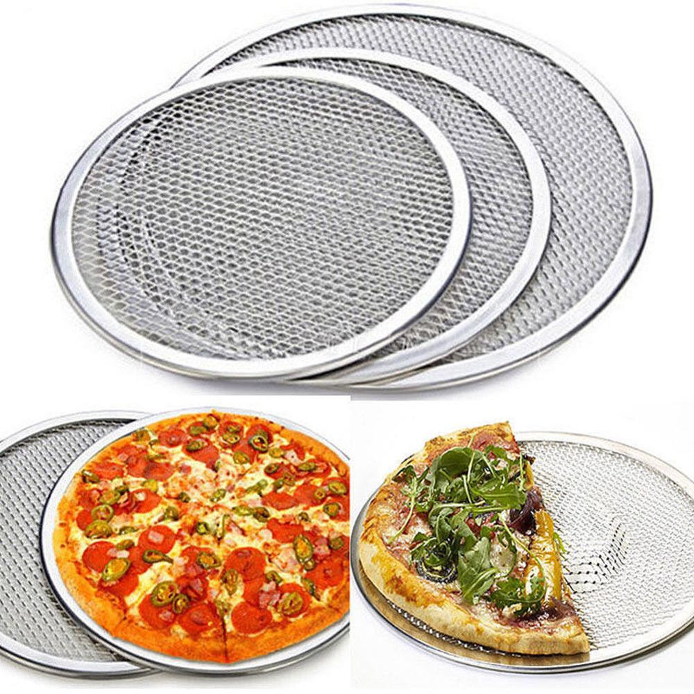 Pizza Stone Pizza Pan Baking Tray For Pizza Aluminium Flat Mesh Pizza Oven 6/8/9/10/12/14Inch Pizza Tray Mold Bakeware Tools