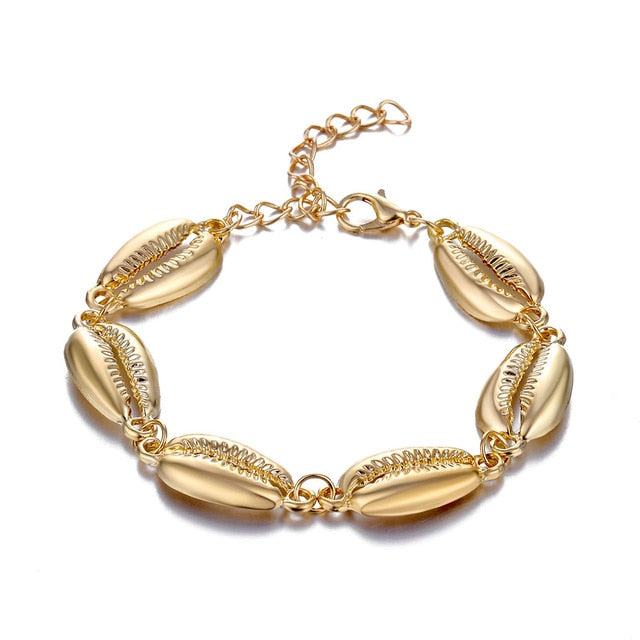 Gold Color Cowrie Shell Bracelets for Women Delicate Rope Chain Bracelet Beads Charm Bracelet Bohemian Beach Jewelry