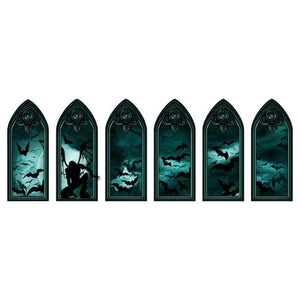 5 Styles Double-sided Visual Wall Sticker Waterproof Removable Paster Halloween Home Festival Decoration Essential Supplies