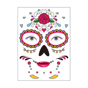 Halloween Party Decoration Halloween Mask Waterproof Temporary Tattoo Sticker Mexican Day of The Sugar Skull Mask Makeup Party,Q